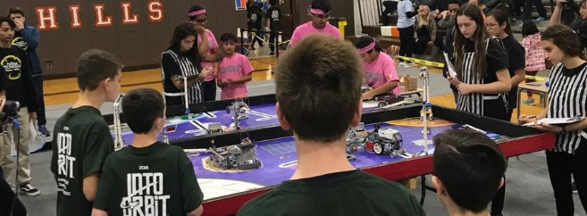 GW robotics team competing