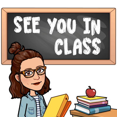 "Teacher's Bitmoji with ""See you in class"" written on the chalkboard."
